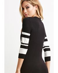 Forever 21 | Black Striped-sleeve Bodycon Dress | Lyst
