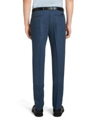 BOSS - Blue 'kaito' | Slim Fit, Wool Blend Melange Dress Pants for Men - Lyst