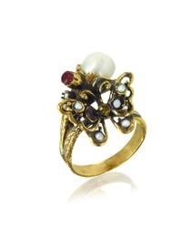 Alcozer & J - Multicolor Golden Brass Gemstones And Glass Pearl Butterfly Ring - Lyst