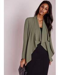 Missguided | Natural Waterfall Blazer Khaki | Lyst