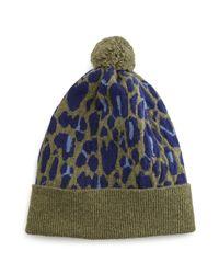 Rosie Sugden | Green Cashmere Leopard-print Beanie | Lyst