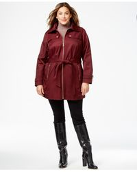 Michael Kors | Red Michael Plus Size Zip-front Hooded Trench Coat | Lyst