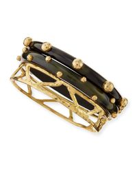 Ashley Pittman | Black Mwundo Dark Horn & Bronze Bangles | Lyst