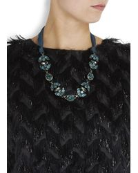 Lanvin | Blue Green Crystal Embellished Ribbon Necklace | Lyst