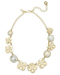 kate spade new york - Metallic New York Gold-Tone Graduated Faux Pearl, Crystal And Flower Frontal Necklace - Lyst