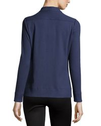 Lafayette 148 New York - Blue Ribbed V-neck Zip-front Cardigan - Lyst