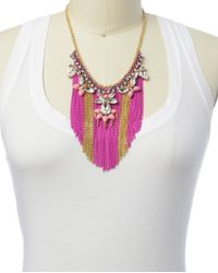 Juicy Couture | Pink Fringe Chain Statement Necklace | Lyst