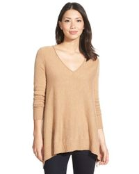 Caslon - Brown Wool & Cashmere Shark Bite Hem Sweater - Lyst