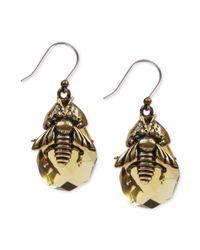Lucky Brand | Metallic Goldtone Bee Stone Drop Earrings | Lyst