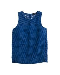 J.Crew | Blue Petite Seamed Shell In Zigzag Eyelet | Lyst