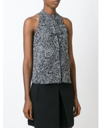 Tory Burch - Black Floral Band Collar Blouse - Lyst