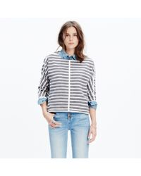 Madewell - Gray Striped Back-zip Pullover - Lyst