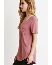 Forever 21 - Pink V-neck Pocket Tee - Lyst