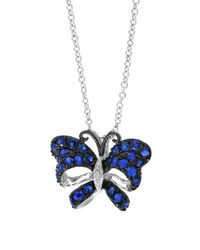 Effy | Blue Royale Bleu Sapphire, Diamond And 14k White Gold Butterfly Pendant Necklace | Lyst