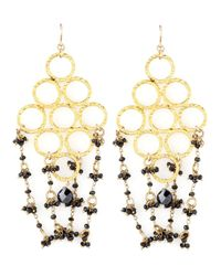 Devon Leigh | Black Beaded Golden Chandelier Earrings | Lyst