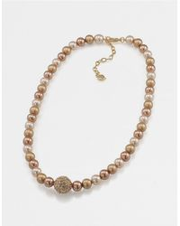 Carolee | Metallic Faux Pearl Single Strand Necklace | Lyst