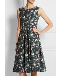 Saloni - Blue Lauren Printed Cotton-Blend Cloqué Dress - Lyst