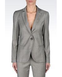 Emporio Armani | Gray Runway Micro Patterned Long Jacket | Lyst