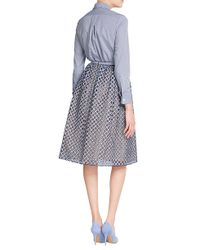 Michael Kors - Checked Cotton Button-down - Blue - Lyst