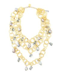 Devon Leigh | Metallic Triple-strand Flat-link Pearl Necklace | Lyst