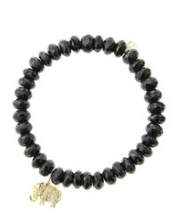 Sydney Evan | 8mm Faceted Black Spinel Beaded Bracelet With 14k Gold/diamond Small Elephant Charm (made To Order) | Lyst