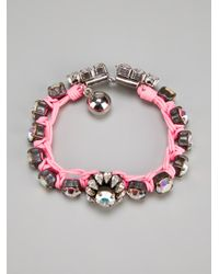 Shourouk - Pink Gem Embellished Braided Bracelet - Lyst