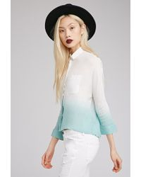 Forever 21 - Blue Ombré Dolman Button-Down Blouse - Lyst