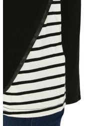 Izabel London | Black Knit Top With Horizontal Stripe Panels | Lyst