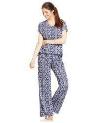 Lucky Brand | Blue Pajama Top And Pants Set | Lyst