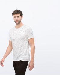 Zara | White Micro-pattern T-shirt for Men | Lyst