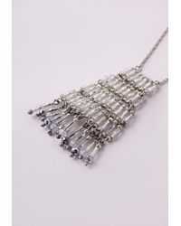 Missguided   Metallic Tiered Longline Necklace Silver   Lyst