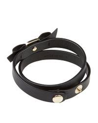 Ferragamo | Black Vara Bow Leather Wrap Bracelet | Lyst