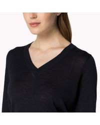 Tommy Hilfiger | Blue Wool V-neck Sweater | Lyst