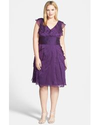 Adrianna Papell | Purple Chiffon Petal Gown | Lyst