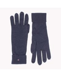 Tommy Hilfiger | Blue Wool Cotton Blend Gloves | Lyst