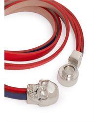 Alexander McQueen | Blue Triple Strap Skull Leather Bracelet | Lyst