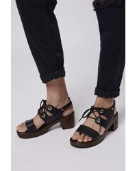 TOPSHOP - Black Highness Lace-up Sandals - Lyst