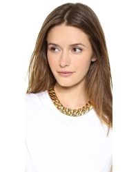 Michael Kors - Metallic Curb Chain Toggle Necklace Gold - Lyst