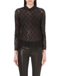 The Kooples | Black Stud-detail Lace Shirt | Lyst