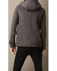 Burberry - Gray Wool Detachable Hood Duffle Jacket for Men - Lyst