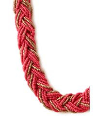 Forever 21 - Pink Beaded Braid Necklace - Lyst