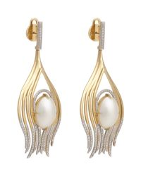 Ana Khouri - Metallic Peacock Feather Earrings - Lyst