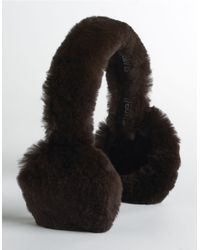 Surell | Brown Printed Rabbit Fur Earmuffs | Lyst