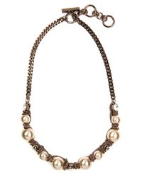 Givenchy | Brown Gold Plated Toggle Necklace With Faux Pearls And Crystal Accents | Lyst
