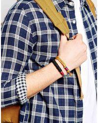 ASOS - Orange Leather Bracelet Pack In Paracord for Men - Lyst