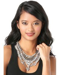 Bebe - Metallic Crystal Bib Necklace - Lyst