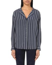 Closed | Blue Striped Silk Shirt | Lyst