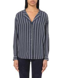 Closed - Blue Striped Silk Shirt - Lyst