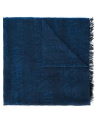 Armani Jeans - Blue Logo Scarf for Men - Lyst