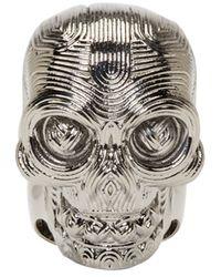 Alexander McQueen   Metallic Silver Etched Diamante Skull Ring for Men   Lyst